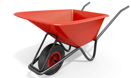wheelbarrow: A typical red garden wheelbarrow on an isolated white studio