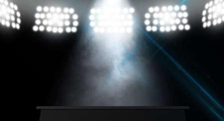 暗闇の中に単一のスポット ライトに照らされて、ステージ
