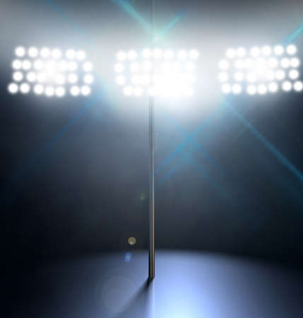 stripper pole: An isolated stripper pole on a stage lit by a single spotlight on a dark  Stock Photo