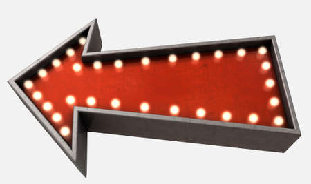 belle: A belle epoque era red vintage arrow sign light by light bulbs on an isolated white studio