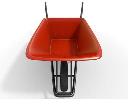 barrow: A typical red garden wheelbarrow on an isolated white studio