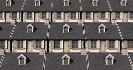 tightly: A tiled pattern made up of tightly packed quaint stone cottages