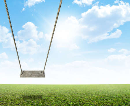 dangle: A regular home made swing made of rope and a wooden plank on a grassy field ground and blue cloudy sky background