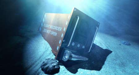 ocean floor: A regular aviation flight recorder black box painted in orange underwater resting on the ocean floor
