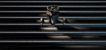 flanges: A collection of pipes with the middle one having a metal shutoff valve on an isolated background Stock Photo