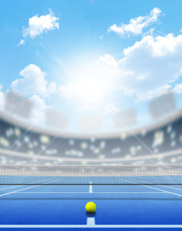 tennis net: A tennis court in an arena with a marked hard blue surface in the daytime under a blue sky