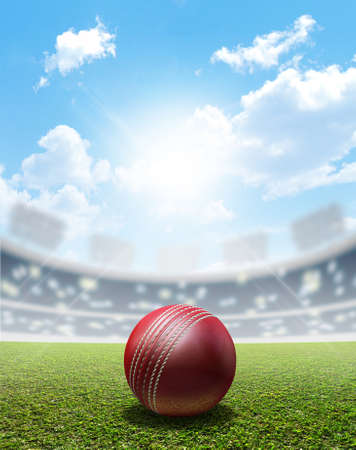 pitch: A cricket stadium with a red leather cricket ball on an unmarked green grass pitch in the daytime under a blue sky