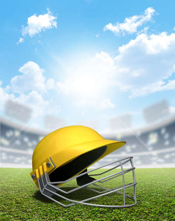 cricket helmet: A cricket stadium with a yellow cricket helmet on an unmarked green grass pitch in the daytime under a blue sky