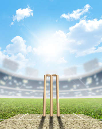 cricket: A cricket stadium with cricket pitch and set up wickets in the daytime under a blue sky Stock Photo