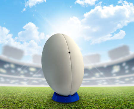 rugby ball: A rugby stadium with a generic white rugby ball on a blue kicking tee on a marked green grass pitch in the daytime under a blue sky