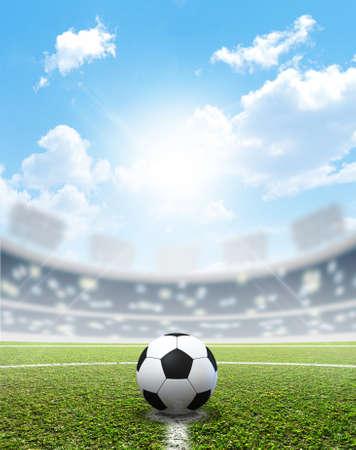 푸른 하늘 아래 낮에 중앙에 표시된 녹색 잔디 피치와 축구 공 축구 경기장