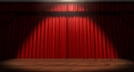grandiose: A regular theater stage with closed red curtains lit by a single spotlight