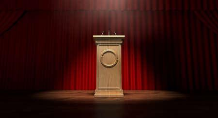 빨간 커튼이 닫히고 나무 논쟁 표 연단이 하나의 스포트라이트로 켜지는 정기 극장 무대 스톡 콘텐츠