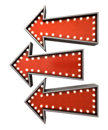 belle: A collection of 3 belle epoque era red vintage arrow signs lit by lightbulbs facing the same direction on an isolated dark background