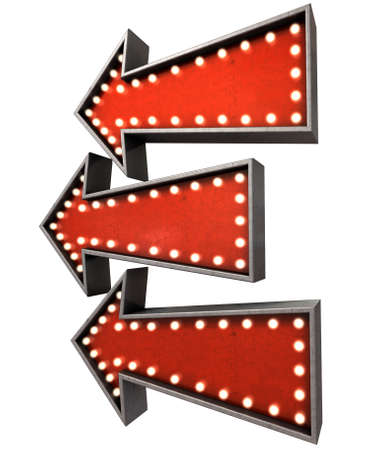 lit collection: A collection of 3 belle epoque era red vintage arrow signs lit by lightbulbs facing the same direction on an isolated dark background