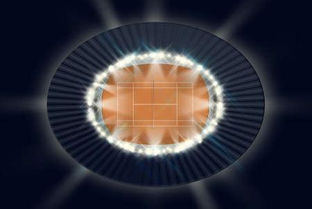 floodlit: An orange clay tennis court in a stadium at night under floodlights Stock Photo
