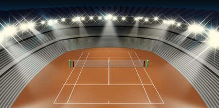 tennis clay: An orange clay tennis court in a stadium at night under floodlights Stock Photo