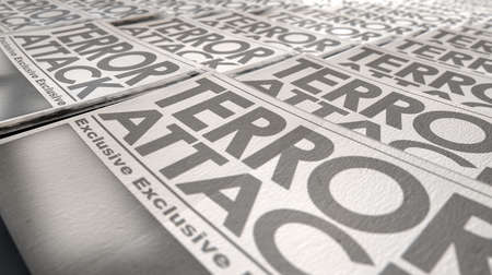 A long row of folded newspapers at the end of a press run with a generic headline that reads terror attack on the front page on an isolated white background