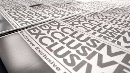 breaking off: A long row of folded newspapers at the end of a press run with a generic headline that reads exclusive on the front page on an isolated white background