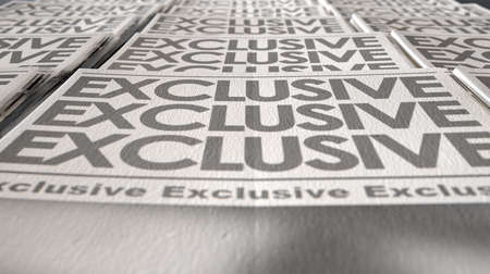 A long row of folded newspapers at the end of a press run with a generic headline that reads exclusive on the front page on an isolated white background photo