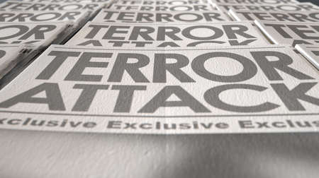 breaking off: A long row of folded newspapers at the end of a press run with a generic headline that reads terror attack on the front page on an isolated white background