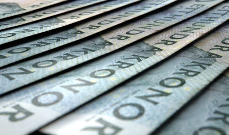 staggered: A macro close-up view showing the detail of banknotes laid out and overlapping in a staggered row