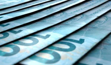 브라질 진짜 지폐의 세부 정보를 표시하는 매크로 근접보기 배치 하 고 비틀 거리는 행에서 겹치는 스톡 콘텐츠