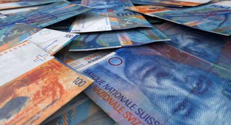 swiss franc note: A macro close-up view of a messy scattered pile of swiss franc banknotes