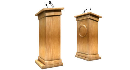 opposing: Two opposing regular wooden debate podiums signifying a debate on an isolated white studio background