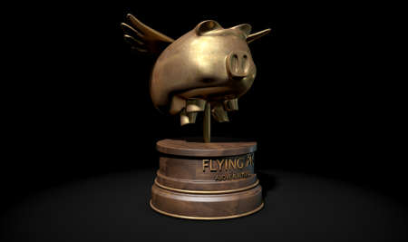 A gold trophy of a mythical flying pig on top of a wooden base and a description which reads above and beyond on an isolated dark studio background Stock Photo