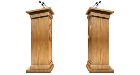 Twee tegengestelde regelmatige houten debat podiums een debat op een geïsoleerde witte achtergrond studio betekenende Stockfoto