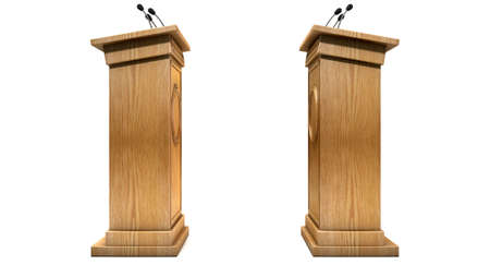 debate: Two opposing regular wooden debate podiums signifying a debate on an isolated white studio background