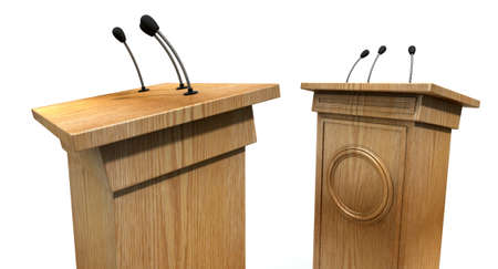 Two opposing regular wooden debate podiums signifying a debate on an isolated white studio background
