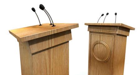 debates: Two opposing regular wooden debate podiums signifying a debate on an isolated white studio background