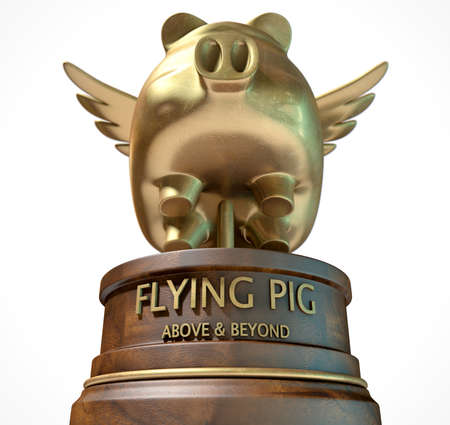 A gold trophy of a mythical flying pig on top of a wooden base and a description which reads above and beyond on an isolated white studio background