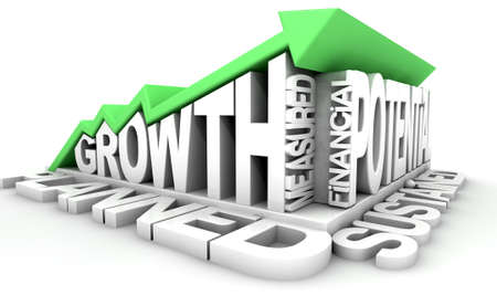 sustained: A green upward trend arrow moulded onto a collection of business term in extruded white text that says grown on an isolated white background