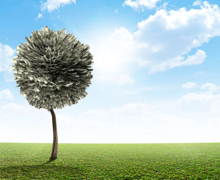 topiary: A stylized fantasy us dollar mythical money tree on a green lawn and blue sky backgroud Stock Photo