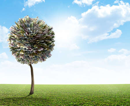 mythical: A stylized fantasy mythical european euro money tree on a green lawn and blue sky backgroud Stock Photo