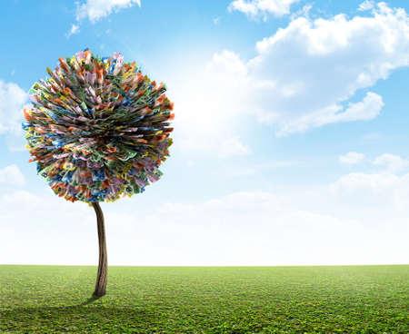 A stylized fantasy mythical australian dollar money tree on a green lawn and blue sky backgroud Archivio Fotografico