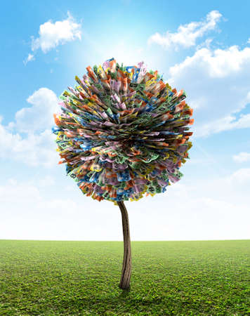 mythical: A stylized fantasy mythical australian dollar money tree on a green lawn and blue sky backgroud Stock Photo