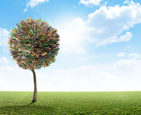 rand: A stylized fantasy mythical south african rand money tree on a green lawn and blue sky backgroud Stock Photo