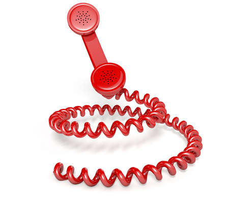 A vintage telephone handset connected to a coiled cord shaped like a spiral on an isolated white studio background