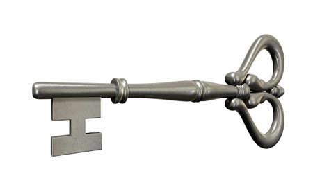 skeleton key: A closeup of a metal antique skeleton key on an isolated white studio background