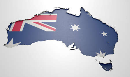 recessed: The shape of the country of Australia in the colours of its national flag currency recessed into an isolated white surface
