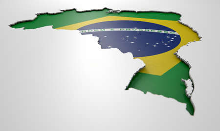 recessed: The shape of the country of Brazil in the colours of its national flag recessed into an isolated white surface
