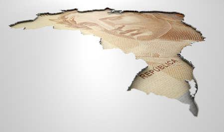 recessed: The shape of the country of Brazil in the colours of its national real currency recessed into an isolated white surface