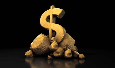 hoard: A collection of gold nuggets propping up a shiny gold dollar symbol on an isolated dark background Stock Photo