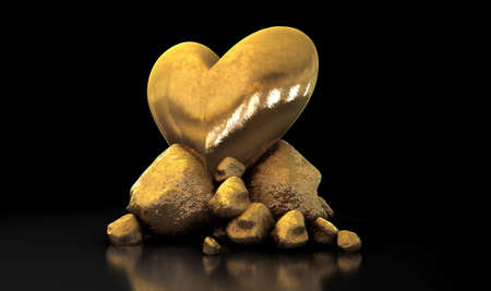 hoard: A collection of gold nuggets propping up a shiny gold heart on an isolated dark background