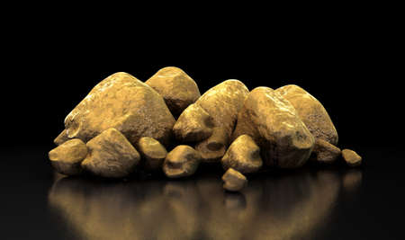 hoard: A collection of gold nuggets on an isolated dark background Stock Photo