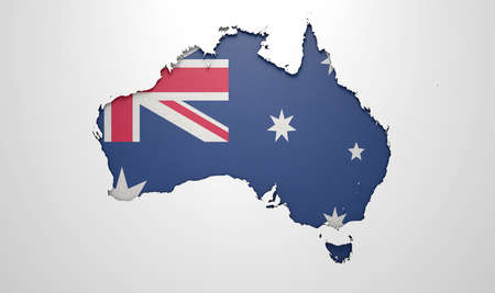 australian dollar notes: The shape of the country of Australia in the colours of its national flag currency recessed into an isolated white surface